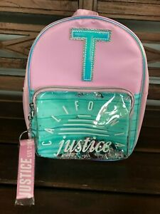 NWT Girls California Justice Initial T Mini Backpack - Color Changes in Sun