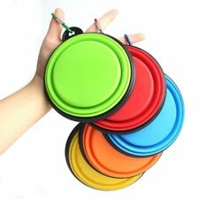 New listing Collapsible Food Water Dish Feeder Folding Pet Dog Silicone Travel Feeding Bowl