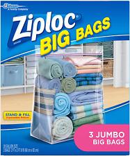 New listing Ziploc Storage Bags, Double Zipper Seal Expandable Bottom, Jumbo, 3 Count, Big