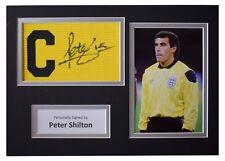 Peter Shilton Signed Captains Armband A4 photo display England Football & COA