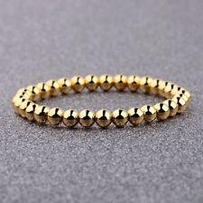 Men Women Fashion Gold 6MM Copper Round Beads Classic Strand Bracelets Jewelry