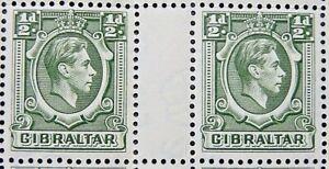 GIBRALTAR 1938-51 SG121 KGVI ½d. DEEP GREEN GUTTER PAIR-  MNH