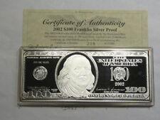1 OZ $100 2002 FRANKLIN FEDERAL NOTE CURRENCY 999 SILVER MONEY BAR SHARP COA