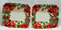 222 Fifth Winter Poinsettia Porcelain Christmas Salad Plates Set of Four New
