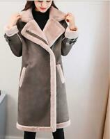 Winter Womens Suede Leather Thicken Lamb Fur Parka Trench Coat Outdoor Jacket Sz
