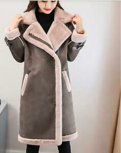 Winter Womens Suede Leather Thicken Lamb Fur Parka Trench Coat Outdoor Jacket