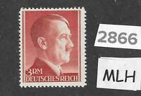 #2866    Very Nice MLH 3RM Adolph Hitler Third Reich stamp / 1942-1944 /  Sc526a