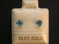 Feinste Blautopas Ohrstecker - 4 mm - 10 Kt. Weiß Gold - 417 - Brillant Schliff