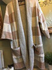 M&S Ecru Beige Wool Maxi Jacket Cardigan SMALL Used
