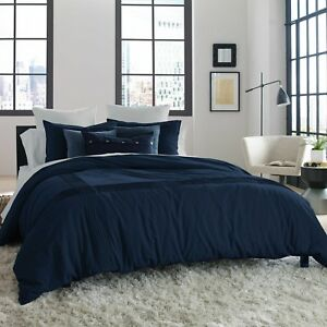 """KENNETH COLE Full/Queen Duvet Cover STRUCTURE,Reversible, INDIGO, 92"""" x 96"""", NEW"""