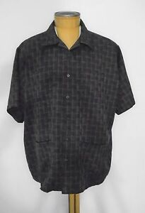 Men's HABAND Executive Division Brown Check Button Down Shirt 4 Pockets Size XX