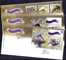 2009 Malaysia Unique Birds (3v+2MS incl Overprint China) on set of 3 FDC