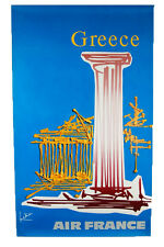 Mid-Century Modern Abstract Vintage Air France Airline Greece Poster by Mathieu
