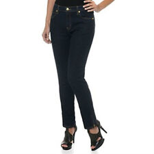 NEW $50 NWT DIANE GILMAN 24WT BLACK SKINNY ANKLE ZIP JEANS PANTS STRETCH DENIM