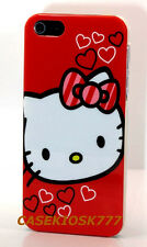 for iphone 5 5S red heart bow hard  hello kitty case cover  and screen protector