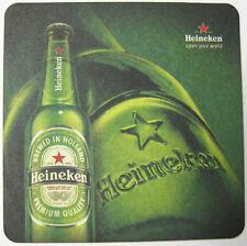 HEINEKEN BEER OPEN YOUR WORLD beer COASTER, Mat with bottles, NETHERLANDS 2013