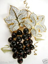 Signed Swarovski Crystal Grape Pin ~Brooch Retired Rare New With Tags