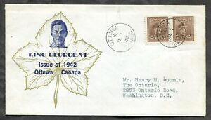 p490 - Canada 1942 FDC Cover - 2c War Issue Pair - King & Maple leaf Cachet ✉