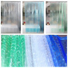 3D Transparent Waterproof Bathroom PEVA Plain Shower Curtain With Hooks Ring