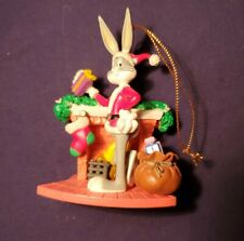 1998 Warner Bros. Looney Tunes Bugs Bunny by the Fireplace Christmas Ornament