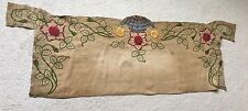 Antiguo Vintage Art Deco Tapiz Bordado Lino cubierta de tabla de sofá-cama de seda