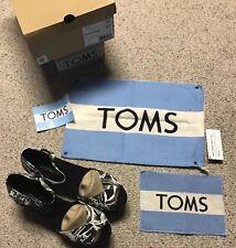 NEW TOMS Black/White Canvas Paint Platform Wedge Sandals Womens 8.5 10004913 NIB