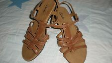 """Clark's Leather Strappy Sandals w/2.5"""" Heel-Tan/Lt. Brown-Never Worn-size 9M"""