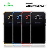 Funda Samsung S8 y S8 Plus silicona transparente con bordes metalizados FLOVEME