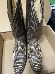DAN POST Mens Western Genuine Python Snake Skin Leather Boots Size 11 D Brown
