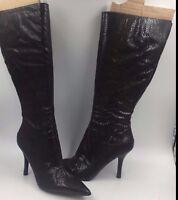 Nine West Blondey Brown Exotic  High Heel Zip Knee High Boots