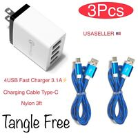4-Port USB Fast Charger AC Power Adapter+ Type-C Charging Data Sync for Android