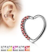 Lined CZ Set Heart Ear Cartilage Tragus Rook Snug Daith Hoop Rings Piercing