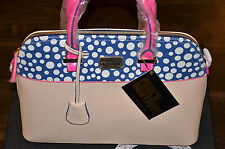 Paul's Boutique - Maisy Large Bag - Pebbled Cream w/Patent White Polka on Navy