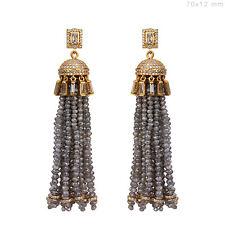 85.14 Ct Diamond Tassel Dangle Earrings Handmade Fashion Jewelry 18k Solid Gold