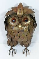 1970s Mid Century Large Brutalist Owl Metal Sculpture 13 inch Tall Jere Style