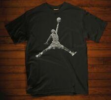 Michael Jordan Chicago BULLS Acetate Black T-shirt  Basketball Size S-3XL