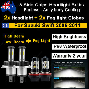 4x Headlight +Fog light Globes For Suzuki Swift 2005-2011 High low Beam LED bulb