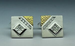 1cttw Men's Diamond designer CUFFLINK set GH VS2-SI1 18kt 2tone gold OUTSTANDING