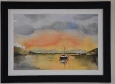 Original Watercolour Painting - Sailing at sunset