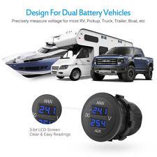12V-24V AUX Main Dual Display Digital LED Car Volt Meter for Motorcycle Car Boat