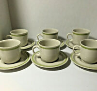 Country Casuals Cream Green Coffee Cups Mugs & Saucers S/6 VTG Stoneware Japan