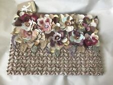 Accessorize Multi Floral Embellished 3D Zip Top Clutch Chain Shoulder Bag BNWT