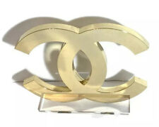 CHANEL ICONIC Logo Display in Gold Acrylic decoration RARE