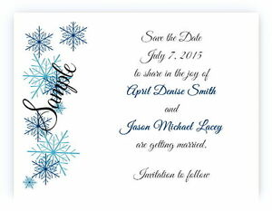 100 Personalized Custom Blue Snowflake Bridal Wedding Save The Date Cards
