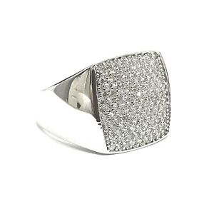 925 Sterling Silver Genuine White Gold Finish Sparkly Bling Shiny Pinky Men Ring
