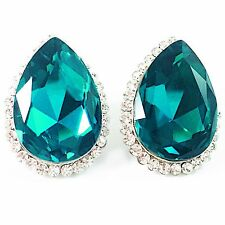 USA EARRING Swarovski ELM Crystal Large Pear shape Green Cyan clear stud CLIP-ON