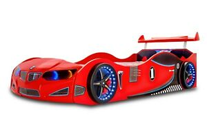 Children's Car Bed in Red With LED Headlights/Wheelights and sounds GT1F/BMW