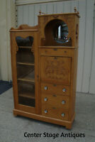 61065 Antique Victorian Oak Side By Side with desk and Bookcase