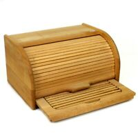 Kitchen Natural Wooden Rolltop Bread Box Bin Food Storage w/Tray