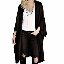Ladies Autumn Winter Oversized Baggy Open Front Pocket Knitted Cape Cardigan Black